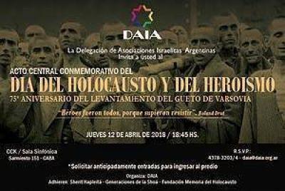 La DAIA organiza el Acto Central por el Día del Holocausto en el CCK