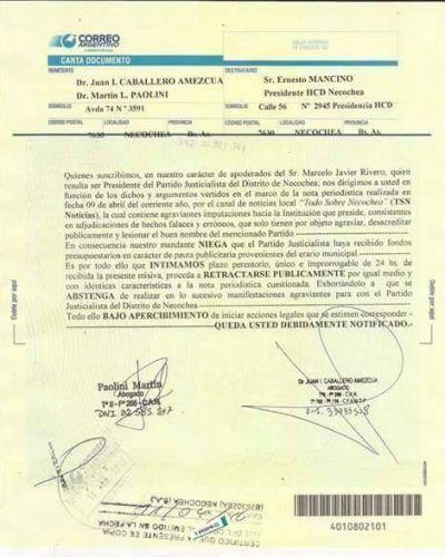 El Partido Justicialista le envió una carta documento a Ernesto Mancino