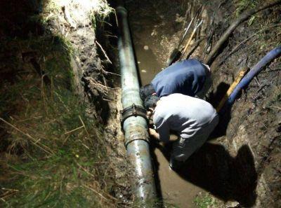 Quedó reparada la rotura del caño que afectaba al servicio de agua en Quequén