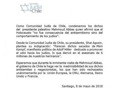 Ante la inminente visita oficial de Mahmmoud Abbás a Chile, la comunidad judía condena sus expresiones negacionistas