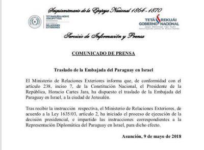 Paraguay confirmó oficialmente el traslado de su embajada a Jerusalén