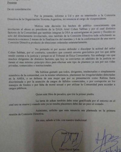 Elías Sporn presentó su renuncia en la Organización Sionista Argentina