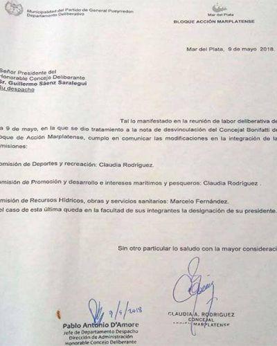 La interna de Acción Marplatense sacó a Bonifatti de distintas comisiones