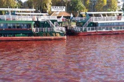 """El río de sangre: en Tigre, el río amaneció rojo y apuntan contra posibles """"vuelcos clandestinos"""""""
