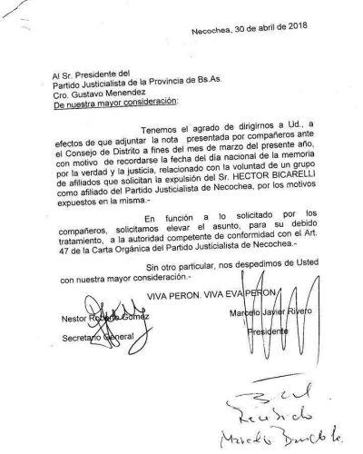 Solicitaron la expulsión de Héctor Bicarelli del Partido Justicialista