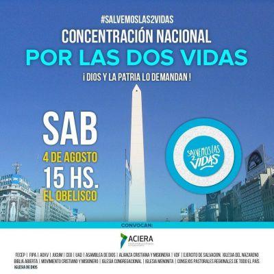 Se espera multitudinaria concentración evangélica a favor de las dos vidas frente al obelisco