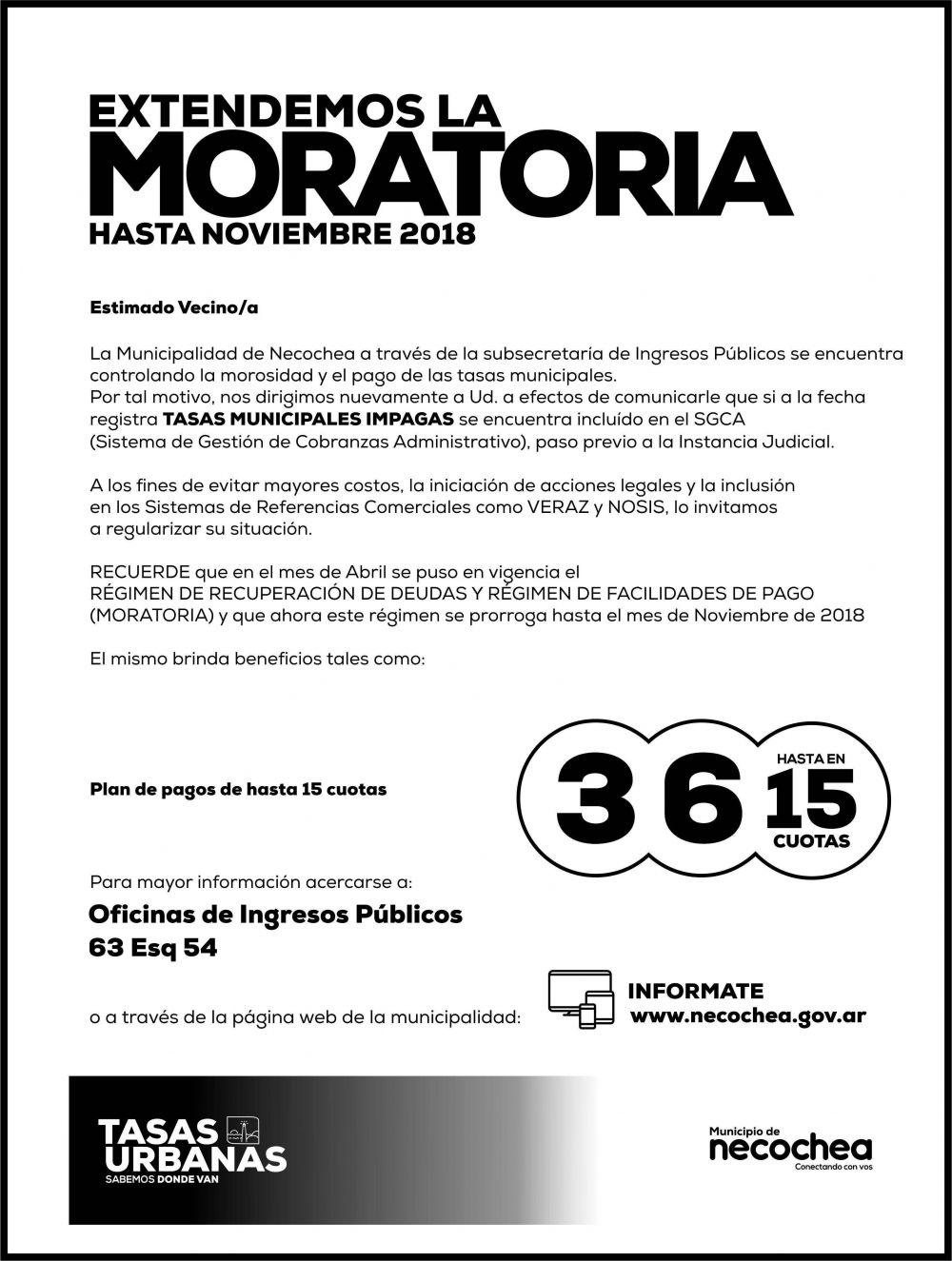 La Municipalidad de Necochea extiende la moratoria hasta noviembre de 2018