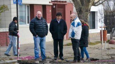 El intendente Giubetich recorrió obra pluvial Cuenca Sarmiento