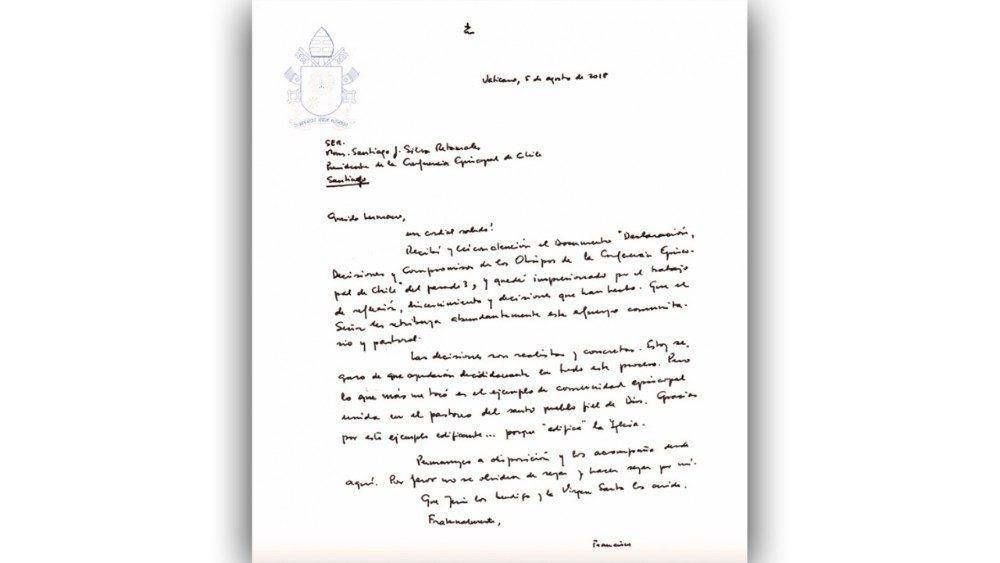 Papa envía carta al Episcopado chileno y apoya sus decisiones para contrastar abusos