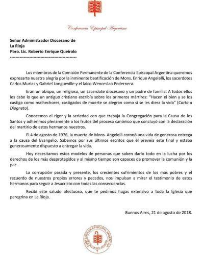 Carta al Administrador Diocesano de la Rioja