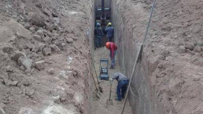 Avanza la obra de agua y cloaca para los vecinos de Rivadavia Banda Sur