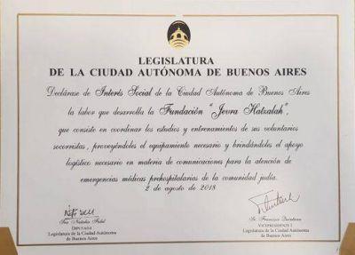 Jevra Hatzalah Argentina fue declarada de Interes Social por la Legislatura porteña
