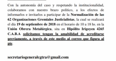 Aislado, Barrionuevo busca armar sus propias 62 Organizaciones