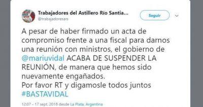 Vidal le canceló la reunión a los trabajadores del Astillero Río Santiago y vuelve la incertidumbre