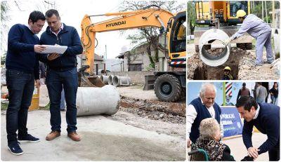 Nardini recorrió obras hidráulicas en Villa de Mayo