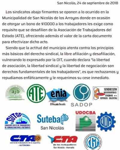 Denuncian a intendente de Cambiemos de ofrecer dinero a trabajadores para que se desafilien de ATE
