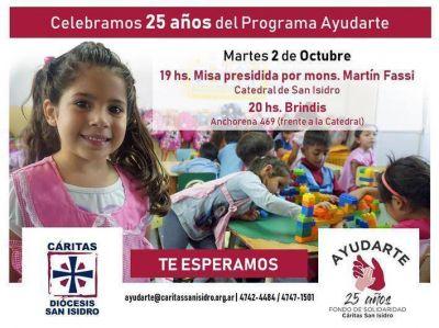 """Cumple 25 años el programa """"Ayudarte"""", de Cáritas San Isidro"""