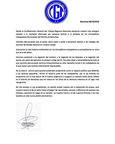 La CGT local repudia represión efectuada por personal policial