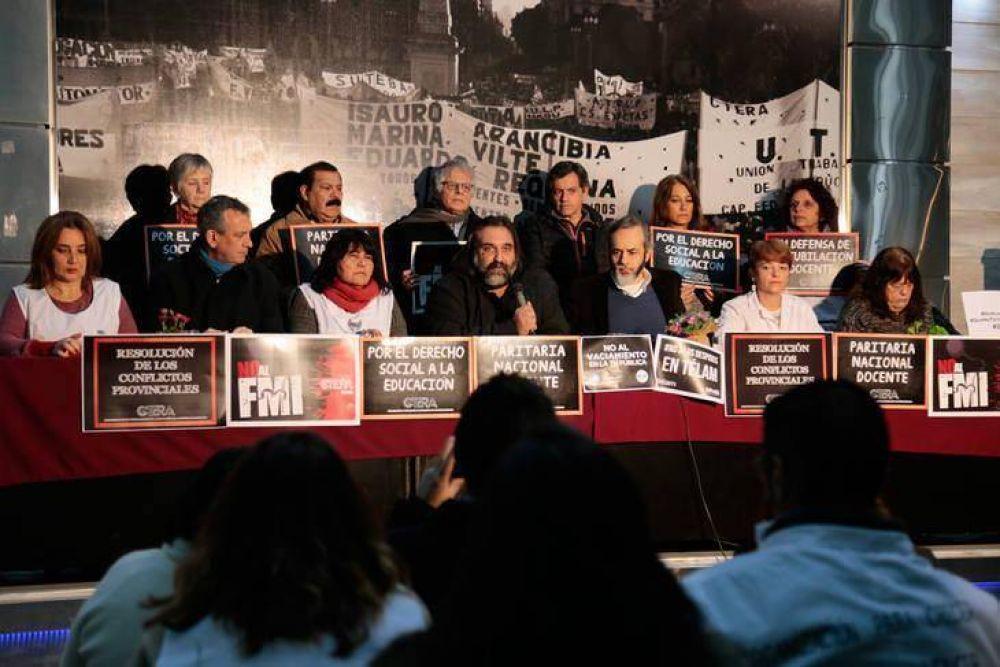 La CTERA llamó a un paro nacional en contra del recorte educativo que prevé el presupuesto 2019