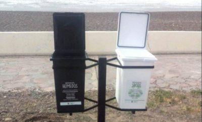 Colocan cestos para la clasificación de residuos en Playa Unión