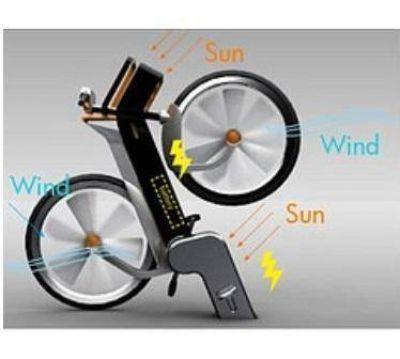 Bicicleta que produce energía eólica y solar revoluciona