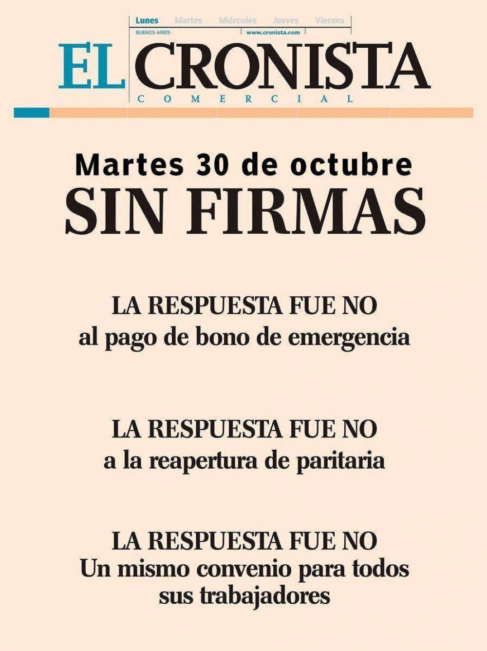 Por un conflicto salarial El Cronista se publicó sin las firmas de sus periodistas