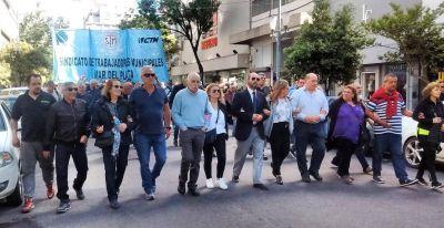 Multitudinaria marcha de municipales rechazando medidas del Intendente Arroyo