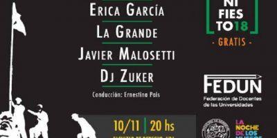 FEDUN recordará la Reforma Universitaria con un festival artístico con Pedro Aznar, Javier Malosetti y Érica García