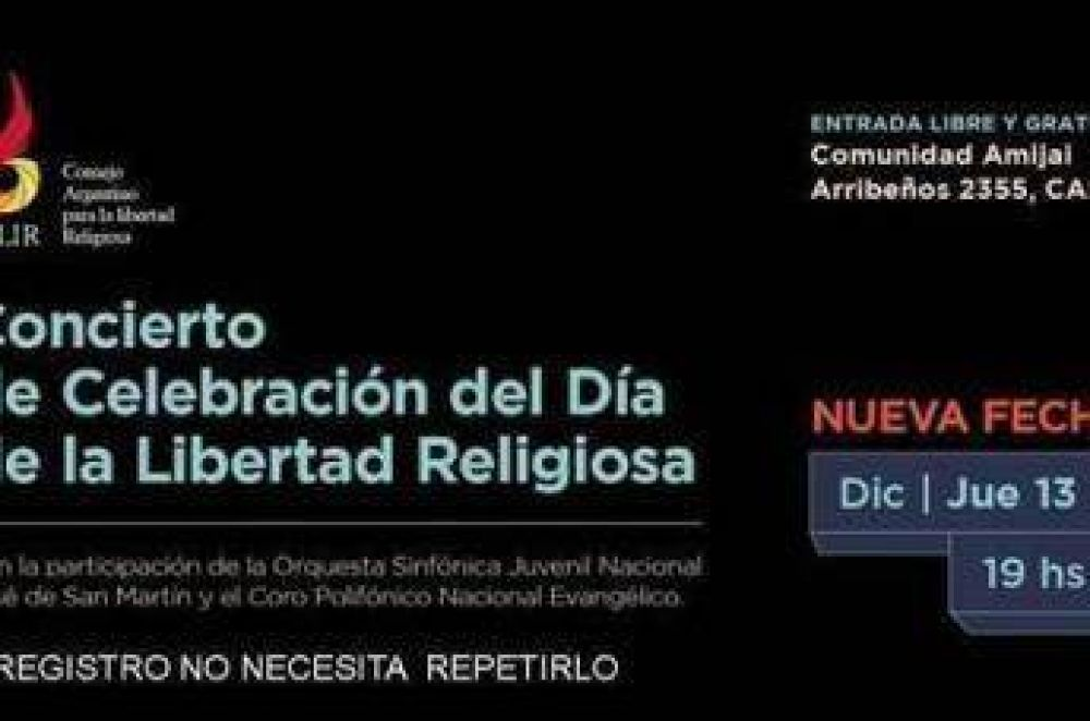 Cambio de fecha del Concierto de Celebración del Día de la Libertad Religiosa