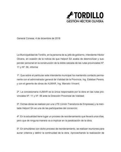 Olivera emitió un comunicado sobre la situación de las rutas provinciales