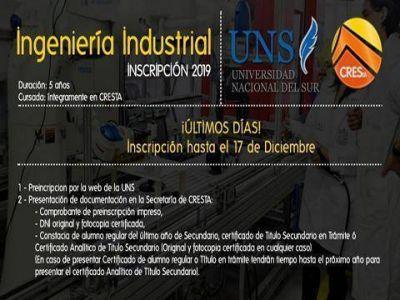 Últimos días para presentar documentación para Ingeniería Industrial en cresta
