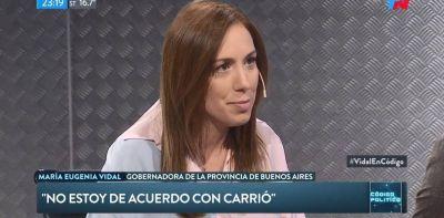 María Eugenia Vidal no adhiere al protocolo de Patricia Bullrich pero rechaza las críticas de Elisa Carrió