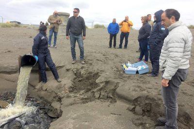 Se inspeccionó la planta de afluentes cloacales de Río Grande y se tomaron muestras para su análisis