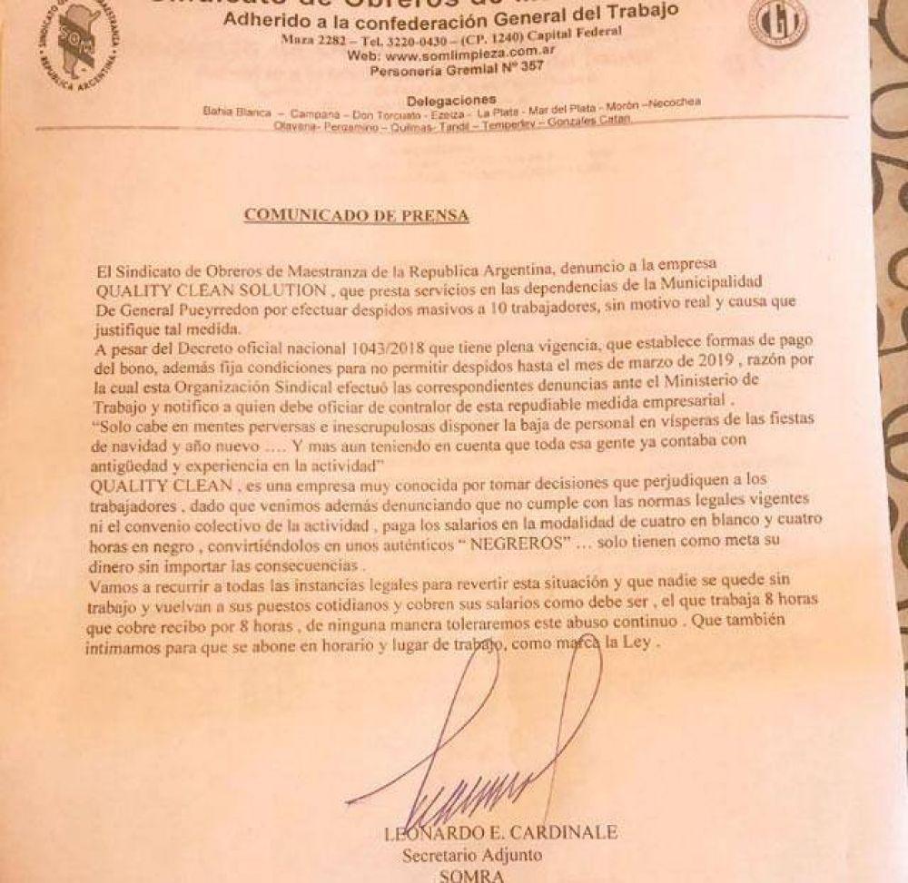 El Sindicato de Maestranza denunció a la empresa de limpieza que trabaja en el Municipio por despidos sin causa