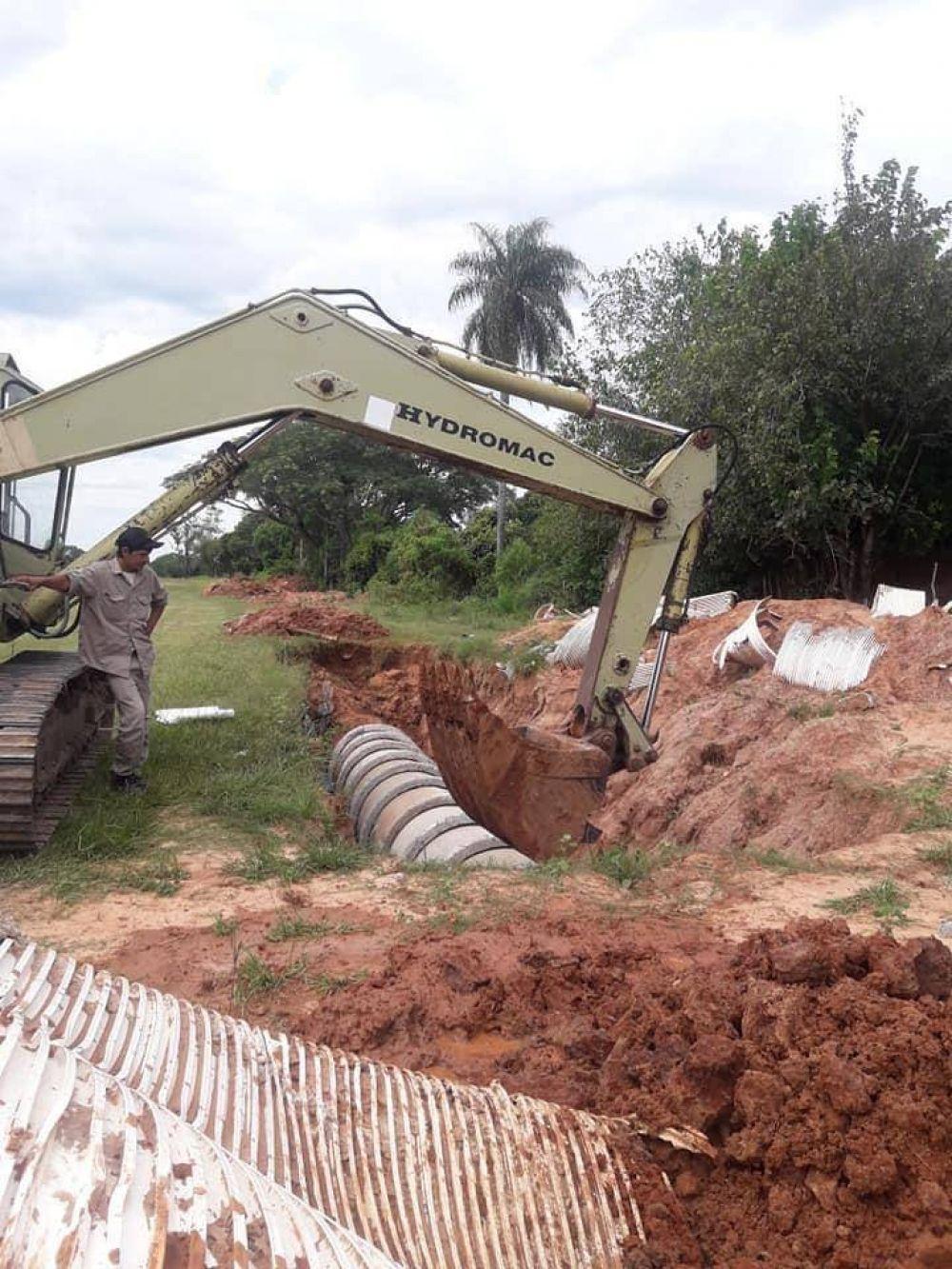 Iniciaron la reparación de un desagüe pluvial en terrenos del Ponce