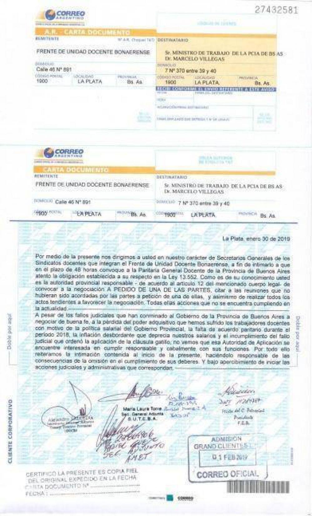Por carta, le exigieron a Villegas que convoque en 48 horas a la paritaria docente