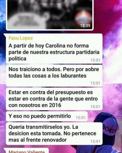 Por WhatsApp Lopez habria echado a Carolina Robert