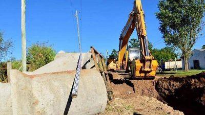 Villa Zorraquin: avanzan las obras de desagües pluviales y cordón cuneta