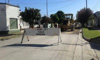 Corte de calles por obras de pavimento y cordón cuneta