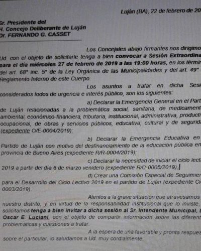 """Convocan al Intendente y declaran el """"estado de emergencia"""" en el Partido de Luján"""