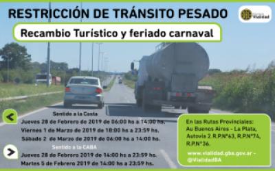 Restricción de camiones en rutas de la Provincia de Buenos Aires por el feriado de carnaval
