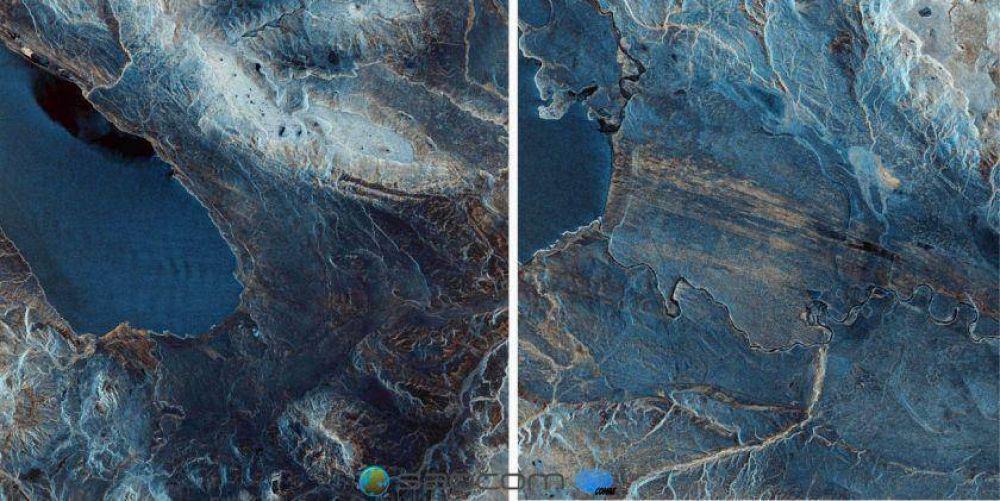Una vista de los lagos patagónicos, la primera imagen que revela el satélite Saocom 1A