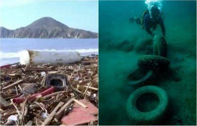 Llantas, botellas, estufas... la basura que se acumula en el mar de Cabo San Lucas
