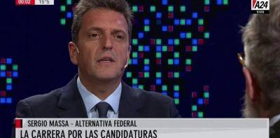 """Sergio Massa sobre Cristina Kirchner: """"No es tiempo de candidaturas de culto que pierdan en segunda vuelta con Macri"""""""