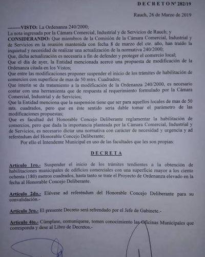 El intendente de Rauch ordenó una suspensión temporal de habilitaciones a supermercados