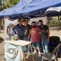 Gremio de motoqueros instaló una carpa frente a la Municipalidad