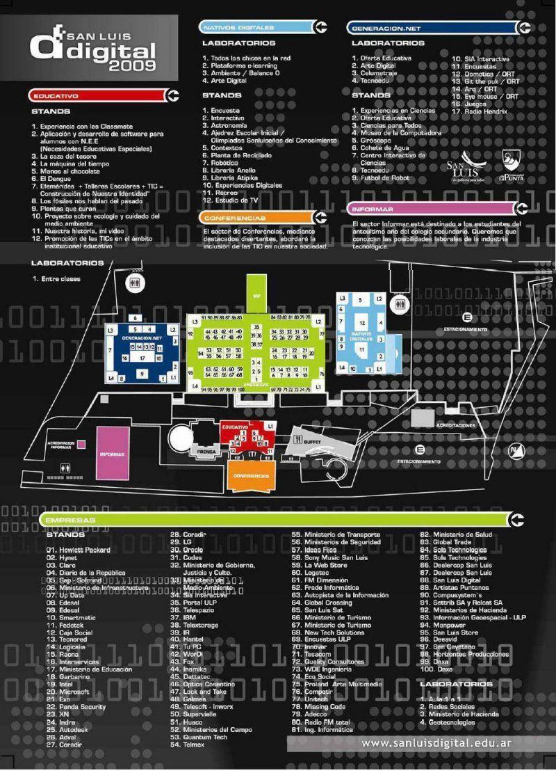 La agenda y el mapa de San Luis Digital 2009