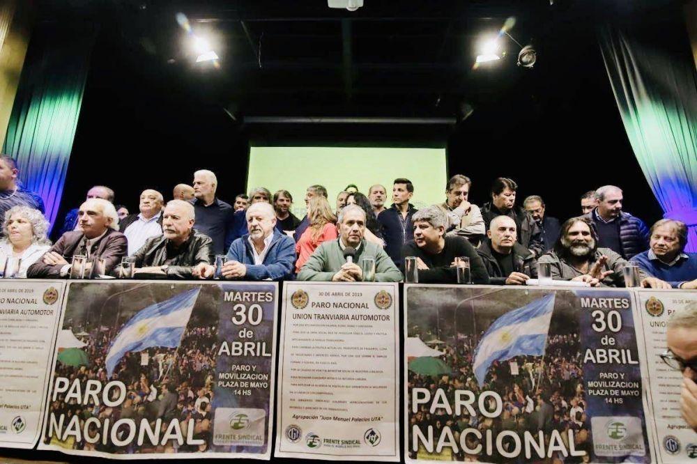 El paro del 30 de abril será con movilización a Plaza de Mayo