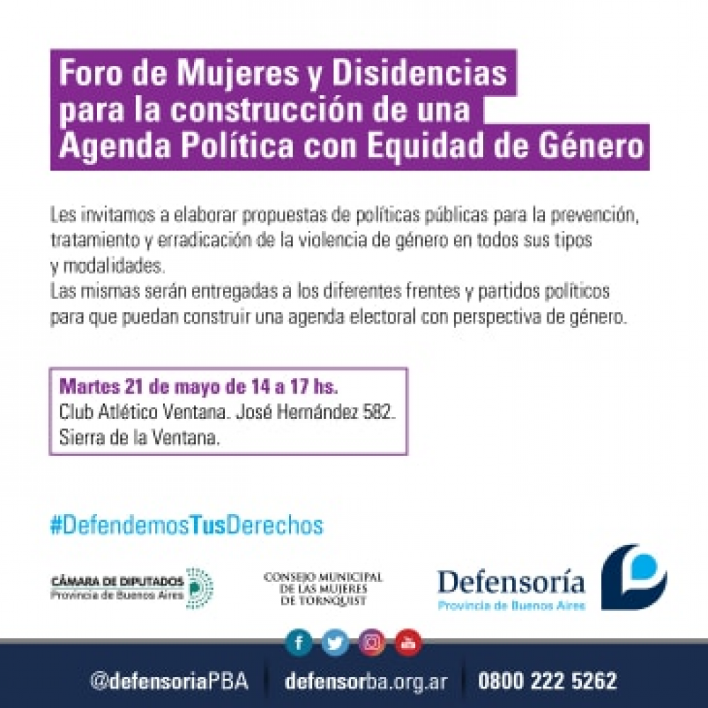 Organizan un Foro para la construcción de una agenda política con Equidad de Género