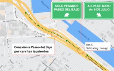 Nuevo Paseo del Bajo: Cómo ingresan camiones y micros desde autopista Buenos Aires - La Plata